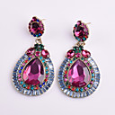 cheap Earrings-Women's Crystal Drop Earrings - Crystal Flower Geometric Fuchsia For Party / Daily / Casual