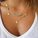cheap Necklaces-Women's Turquoise Pendant Necklace - Gold Plated, Turquoise Personalized, Basic, Double-layer Silver, Golden Necklace For Party, Daily, Casual