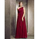 זול שמלות שושבינה-מעטפת \ עמוד כתפיה אחת עד הריצפה שיפון שמלה לשושבינה  עם בד נשפך בצד על ידי LAN TING BRIDE®