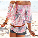 cheap Eyelashes-Women's Casual Blouse - Floral Print Boat Neck / Summer