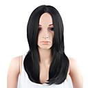 billige Øredobber-Syntetiske parykker Dame Rett Svart Syntetisk hår Svart Parykk Medium Lengde Lokkløs Svart