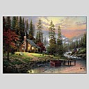 cheap Framed Arts-Oil Painting Hand Painted - Landscape Classic Modern Canvas