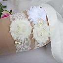 cheap Wedding Garters-Lace Classic Fashion Wedding Garter with Feather Imitation Pearl Ribbon Tie Ribbons Sweetheart Flower Special Occasion