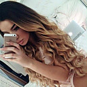 cheap Human Hair Wigs-Remy Human Hair Glueless Lace Front Lace Front Wig Brazilian Hair Loose Wave Ombre Wig 150% Density with Baby Hair Ombre Hair Natural Hairline African American Wig 100% Hand Tied Ombre Women's Short