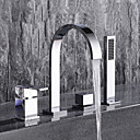 preiswerte Badewannen Armaturen-Badewannenarmaturen - Moderne Chrom 3-Loch-Armatur Keramisches Ventil / Zwei Griffe Vier Löcher