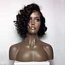 olcso Emberi hajból készült parókák-Emberi haj Tüll homlokrész / Csipke eleje Paróka Brazil haj Göndör Paróka Bob frizura / Bretonnal 130% Természetes hajszálvonal / Afro-amerikai paróka / 100% kézi csomózású Női Rövid / Közepes Emberi