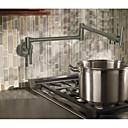 billige Uttrekkbar Spray-Kjøkken Kran - To Håndtak et hull Nikkel Børstet Køkkenkran Centersat Moderne / Art Deco / Retro Kitchen Taps