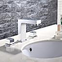 preiswerte Badarmaturen-Waschbecken Wasserhahn - Verbreitete Chrom 3-Loch-Armatur Zwei Griffe Drei Löcher