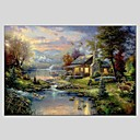 cheap Landscape Paintings-Hand-Painted Landscape Horizontal Panoramic, Classic Modern Canvas Oil Painting Home Decoration One Panel