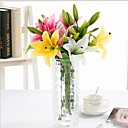 cheap Christmas Decorations-Artificial Flowers 4 Branch Modern Style Lilies Tabletop Flower