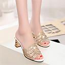 abordables Zapatos de Boda-Mujer Zapatos PU Verano Confort Sandalias Tacón Cuadrado Dorado / Plata