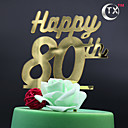 cheap Cake Toppers-Cake Topper Classic Theme Monogram Acrylic Birthday with 1pcs OPP
