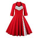 tanie Pierścionki-Damskie Rozmiar plus Vintage / Wyrafinowany styl Bawełna Flare rękawem Pochwa Sukienka Kwadratowy dekolt Do kolan Czerwony