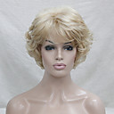 cheap Synthetic Capless Wigs-new wavy curly golden blonde mix short synthetic hair full women s wig for everyday