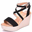 ieftine Sandale de Damă-Pentru femei Piele de Căprioară Vară Confortabili Sandale Toc Platformă Pantofi vârf deschis Negru / Rosu / Migdală