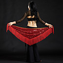 cheap Dance Accessories-Belly Dance Hip Scarves Women's Performance Polyester Sequin Tassel Hip Scarf