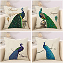 cheap Cushion Sets-4 pcs Cotton / Linen Pillow Cover / Pillow Case, Novelty / Animal / Fashion Vintage / Casual / Retro