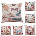 preiswerte Dekorative Kissen-6 Stück Leinen Baumwolle / Leinen Kissenbezug, Texture Strand Design Stützen Traditionell-Klassisch
