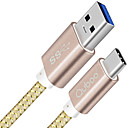 billige Kabler og Lader til mobiltelefon-USB 3.0 / Type-C Flettet / Høyhastighet / Hurtig kostnad Kabel Samsung / Huawei / LG til 100 cm Til Nylon