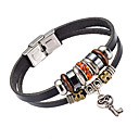 cheap Men's Bracelets-Men's Leather Bracelet - Crystal, Leather Natural, Fashion Bracelet Orange / Blue / Pink For Special Occasion Gift