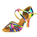 cheap Shoulder Bags-Women's Latin Shoes Leather Sandal Buckle / Criss-Cross Cuban Heel Customizable Dance Shoes Rainbow / Performance