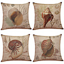 cheap Pillow Covers-4 pcs Linen Natural/Organic Pillow Case Pillow Cover, Solid Textured Beach Style Traditional/Classic Office/Business Modern/Contemporary