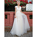 cheap Clutches & Evening Bags-A-Line V Neck Floor Length Lace Over Tulle Made-To-Measure Wedding Dresses with Appliques / Sash / Ribbon by LAN TING BRIDE®