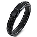 cheap Men's Bracelets-Men's Leather Bracelet - Stainless Steel, Leather Vintage, Punk, Rock Bracelet Black For Birthday Dailywear Sports Outdoor