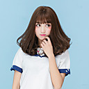 cheap Synthetic Capless Wigs-Synthetic Wig Natural Wave With Bangs Synthetic Hair Brown / Gray Wig Women's Medium Length Capless