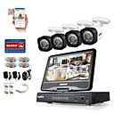 cheap DVR Kits-SANNC® 8CH 4PCS HD 720P DVR Weatherproof Security System LCD Monitor Supported Analog AHD TVI IP Camera