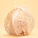 cheap Stickers, Labels & Tags-Round Square Creative Pearl Paper Favor Holder with Ribbons Printing Favor Boxes - 50