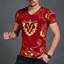 cheap Cell Phone Cases & Screen Protectors-Men's Sports Active / Boho / Street chic Cotton Slim T-shirt - Solid Colored / Geometric Print V Neck / Short Sleeve