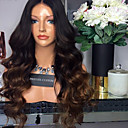 cheap Human Hair Wigs-Virgin Human Hair Glueless Lace Front Lace Front Wig Brazilian Hair Body Wave Ombre Wig Middle Part 180% Density with Baby Hair Ombre Hair Natural Hairline Glueless Ombre Women's Short Medium Length