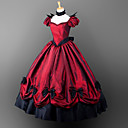 billige Lolitakjoler-Gotisk Victoriansk Kostume Dame Jente Kjoler Party-kostyme Maskerade Rød Vintage Cosplay Satin Kort Erme Puff Ballong Gulvlang Halloween-kostymer / Gotisk Lolita