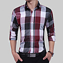 cheap Synthetic Capless Wigs-Men's Party / Birthday / Party Evening Boho / Chinoiserie Plus Size Cotton / Polyester / Cotton Blend Shirt - Color Block / Plaid / Check