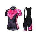 cheap Cycling Jersey & Shorts / Pants Sets-Malciklo Women's Long Sleeve Cycling Jersey with Bib Shorts - Black Geometic British Plus Size Bike Jersey Tights Padded Shorts / Chamois Breathable Quick Dry Anatomic Design Reflective Strips Sports