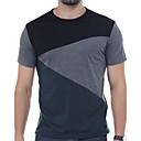 baratos Topetes-Homens Camiseta Activo Sólido / Retalhos / Manga Curta