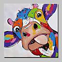 זול ציורי חיות-מצויר ביד חיות ריבוע, מופשט (אבסטרקטי) ארט דקו / רטרו סרט מצוייר חמוד מודרני / עכשווי בַּד ציור שמן צבוע-Hang קישוט הבית פנל אחד
