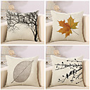 cheap Pillow Covers-4 pcs Cotton / Linen Pillow Cover / Pillow Case, Botanical / Novelty / Classic Classical / Retro / Traditional / Classic