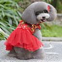 billige Katteleker-Hund Kjoler Hundeklær Blomster/botanikk Lilla Rød Blå Rosa Dun Terylene Kostume For kjæledyr Bryllup