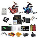 cheap Tattoo Transfers & Supplies-Tattoo Machine Professional Tattoo Kit High Quality Analog power supply 2 x stainless steel grip 50 Classic Daily