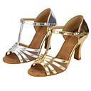 baratos Sapatos de Dança Moderna-Mulheres Sapatos de Dança Latina Couro Sintético Sandália Cruzado Salto Cubano Personalizável Sapatos de Dança Dourado / Prata
