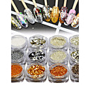 cheap Nail Glitter-1set / 12pcs Glitter Powder Sequins Glow nail art Manicure Pedicure Elegant & Luxurious / Sparkle & Shine Party Evening / Daily / Honeymoon