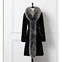 povoljno Stole za vjenčanje-Žene Dnevno Jednostavan / Ležerne prilike Zima Dug Krzneni kaput, Jednobojni Ruska kragna Dugih rukava Drugo Crn