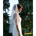 cheap Men's Slippers & Flip-Flops-Two-tier Cut Edge Wedding Veil Elbow Veils 53 Ruffles Chiffon