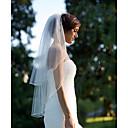 cheap Party Supplies-Two-tier Cut Edge Wedding Veil Elbow Veils 53 Ruffles Chiffon
