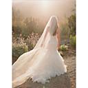 رخيصةأون باروكات تنكرية-One-tier Cut Edge الحجاب الزفاف Chapel Veils مع Flower Comb تول / Angel cut / Waterfall