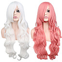 cheap Synthetic Capless Wigs-Synthetic Wig Wavy Pink Synthetic Hair White / Pink Wig Women's Long Capless