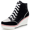 cheap Women's Sneakers-Women's Shoes Paillette / Suede Fall / Winter Fashion Boots Sneakers Platform / Wedge Heel Round Toe / Closed Toe Sequin / Lace-up Black