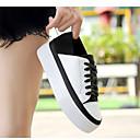 abordables Baskets pour Femme-Femme Chaussures Cuir Printemps / Automne Semelles Légères Basket Marche Talon Plat Bout rond Lacet Noir / blanc